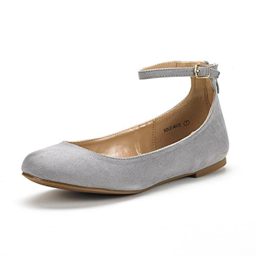 DREAM PAIRS Women's Sole-Nice Grey Suede Ankle Strap Walking Flats Shoes - 10 M US (Strap Ankle Women)