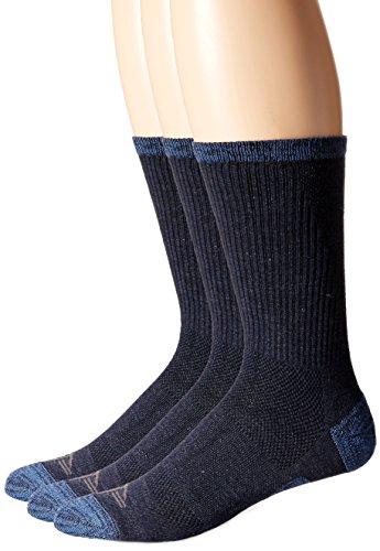 Dockers Men's 3 Pack Temperature Management Crew Socks, Navy, Shoe Size: 6-12 Size: 10-13