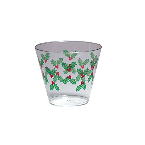 Party Essentials 20 Count Hard Plastic Printed Christmas Party Cups/Tumblers, 9 oz, Holly Berry (Christmas Drinks Eggnog)