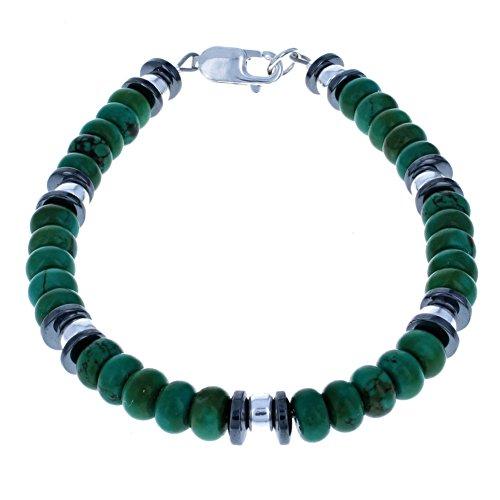 Men's Turquoise, Hematite (Hemalyke) & Sterling Silver Rondelle Beaded Bracelet - 9