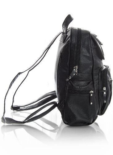 Big Design Handbag Leather Shop Rucksack Shoulder KL101 Unisex 2 Size Black Vegan Medium Backpack Bag rZnrWx