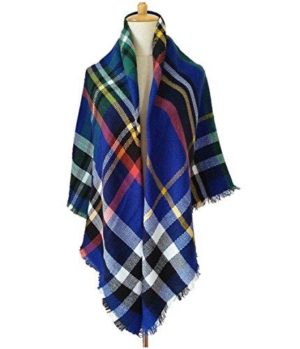 Tandisk Soft Warm Tartan Plaid Scarf Shawl Cape Blanket Scarves Fashion Wrap Blue