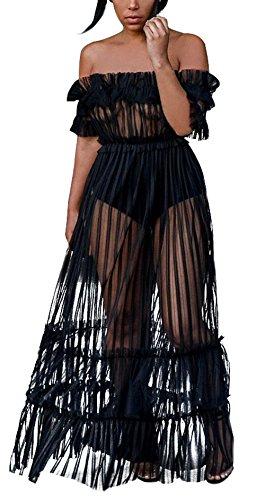 Tulle Discoteca Sexy Vestiti Spiaggia Maxi Abito Barca Moda Vestito A Tunica Prospettiva Maniche Corte Club Nero Partito Da Estivi Scollo Donna xTw61a7q