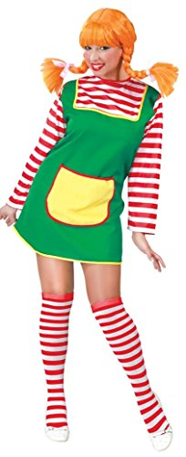 Ladies Pippi Longstocking TV Book Film Cartoon Fancy Dress Costume Outfit 14-18 (UK 14-18)]()