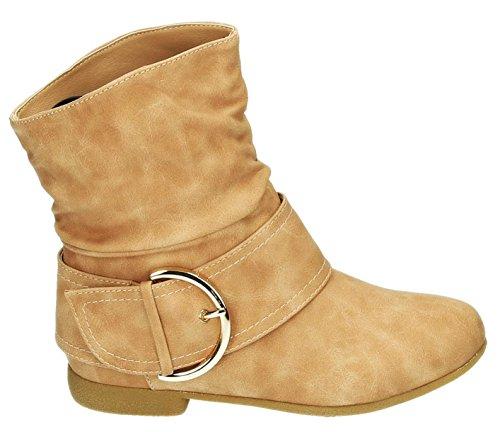 Damen Stiefeletten Cowboy Western Stiefel Boots Flache Schlupfstiefel Schuhe 91 Pink