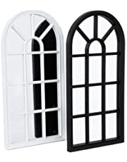 BARGAINS-GALORE 70CM WINDOW STYLE MIRROR LIVING ROOM DECORATION HALLWAY HOME PANEL WALL GLASS (White)