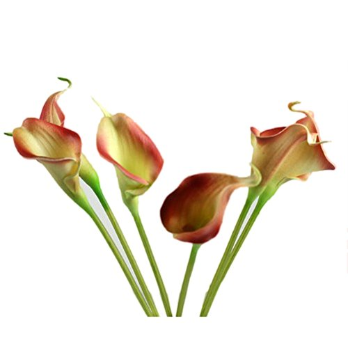 Elevin(TM) 10PC Artificial Fake Flowers Leaf Calla Lily Floral Bouquet Party Home Decor - Calla Lily Ring Candle