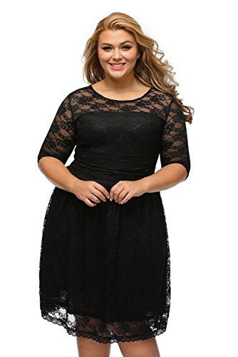 Pyramid Top Women maxi Lace Dresses Cocktail Wedding Dress Bride Dresses (XXL, BLACK)
