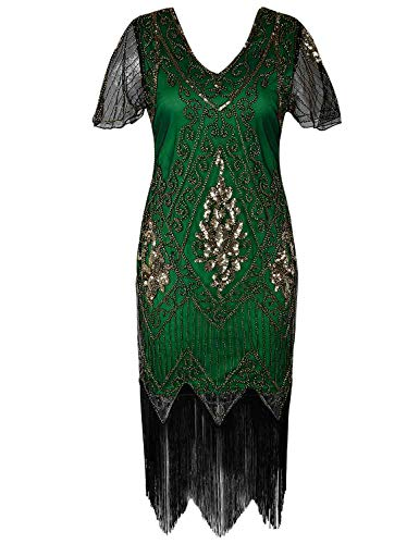 PrettyGuide Women's 1920s Flapper Dress Fringed Great Gatsby Dress M Gold Green (Green 1920s Style Dress)