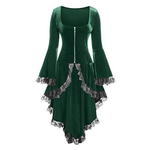 Thin Outwear Steampunk Victorian Swallow Tail Women VigorY Asymmetrical Hem Long Trench Long Trench Coat Jacket Green