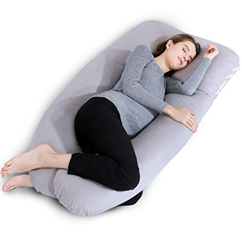 INSEN Pregnancy Pillow,Full Body Maternity Pillow for Pregnant Women,U Shaped Body Pillow for Back Pain Relief,with 100% Cotton Washable Cover,Gray