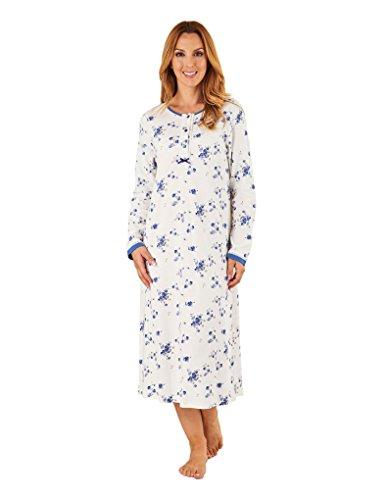 Nightdress ND8136 Long Night Blue Floral Women's Slenderella Gown Sleeve 8TnPCnY