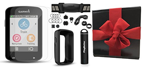 Garmin Edge 820 Gift Box Bundle with PlayBetter Silicone Protective Case, HD Glass Screen Protectors (2-Pack), Portable Charger, Bike Mounts | GPS Cycle Computer (Black Case, Bundle w/ HRM & Sensors) by PlayBetter