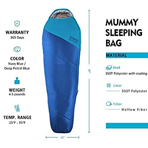 WINNER OUTFITTERS Mummy Sleeping Bag with Compression Sack, It's Portable and Lightweight for 3-4 Season Camping, Hiking, Traveling, Backpacking and Outdoor Activities(Royal Blue,4.5lbs)