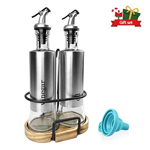 Olive Oil and Vinegar Bottle Set, 2-piece Olive Oil Container Set with Rack and Wooden Base, 10.3 Oz Olive Oil Dispenser|No-Drip Double Spouts|Dishwasher-Safe Glass Cooking Oil Cruet Bottles, by - Rack Cruet Vinegar