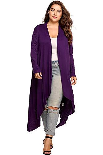 Cappotto A Maglia Elegante Donna Moda Cardigan Autunno Mode di marca Monocromo Slim Fit Irregular Manica Lunga Maglioni Lunghi Casual Di Moda Pullover (Color : Violett, Size : 2XL)