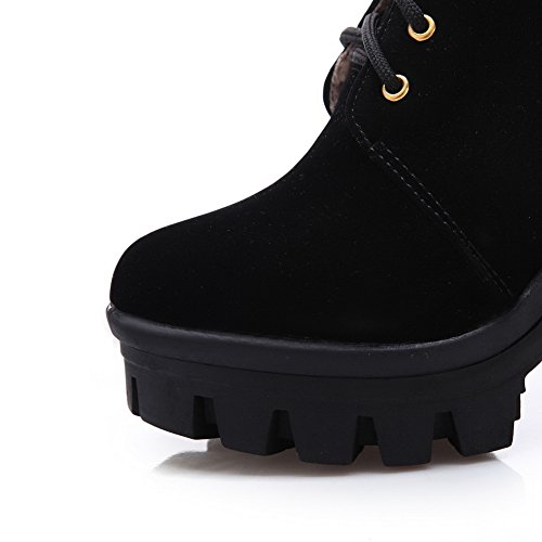 AdeeSu Girls Metal Ornament European Style Formal Imitated Suede Boots Black LTp4J1