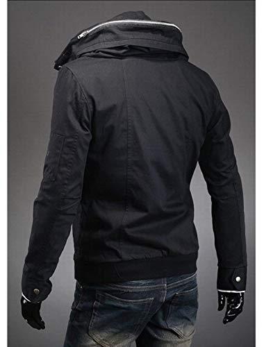 Coat Coat Nuovo Nuovo Nuovo Lunga Convertibile Abbigliamento da Anteriori Manica Schwarz Giacche con Uomo Cerniere in Stile Outwear Tasche Giacca X6nw6