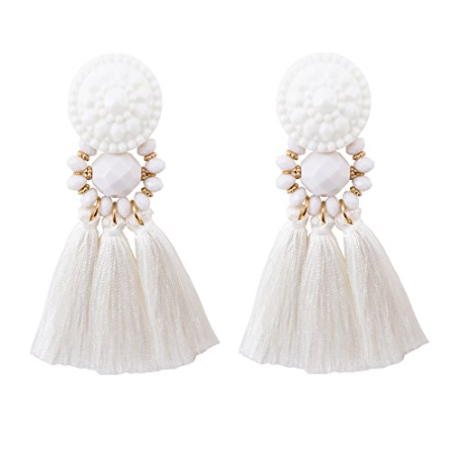 Boderier Bohemian Statement Thread Tassel Chandelier Drop Dangle Earrings with Cassandra Button Stud (White)