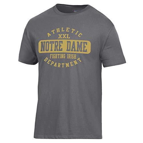 - Champion NCAA Notre Dame Fighting Irish Men's Ringspun Short Sleeve T-Shirt, Granite Heather, X-Large