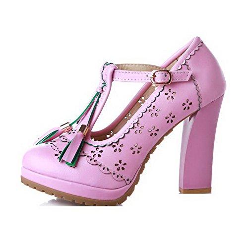Amoonyfashion Dames Ronde Gesloten Neus Hoge Hakken Zacht Materiaal Stevige Gesp Pumps-schoenen Paars