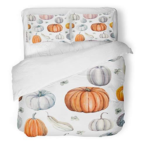 Tarolo Bedding Duvet Cover Set Autumn Watercolor Pumpkins It is Thanksgiving Halloween Recipe Food Gourd Pattern 3 Piece King 104