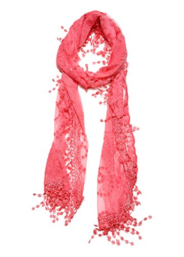 Women's lightweight Feminine lace teardrop fringe Lace Scarf Vintage Scarf Mesh Crochet Tassel Cotton Scarf for Women,One Size,Coral Color (Beautiful Lightweight Scarf)