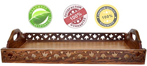 SouvNear COMINHKPR71516 Woo New Year Deals-100% Guarantee Wooden Handles Decorative Ottoman Wood Large Serving/Service Luxury Tray for Coffee Tea Juice a, one size, Brown ()