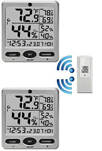 Ambient Weather WS-08-2 Dual Zone Big Digit 8-Channel Wireless Thermo-Hygrometer (Weather Station Two Consoles compare prices)