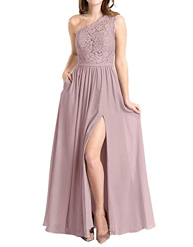 BBCbridal Women's One Shoulder Long Evening Dress Lace Chiffon Bridesmaid Dress Side Split Prom Gowns Dusty Rose Size 18