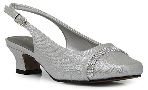 Enzo Romeo Antica02 Women's Wide Width Sling Back Low Heeled Pumps Sandals Shoes (9 Wide US, Silver) (Square Heel Sandal)