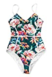 CUPSHE Women's Full Blossom V-Neck Piping Design One-Piece Swimsuit X-Large