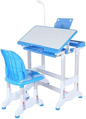 Children Desk,US-Haokanba Height Adjustable Kids Study Desk Chair Set w/Lamp,Toddler Student Writing Drawing Study Table Tilt Desktop w/Storage Drawer Bookstand