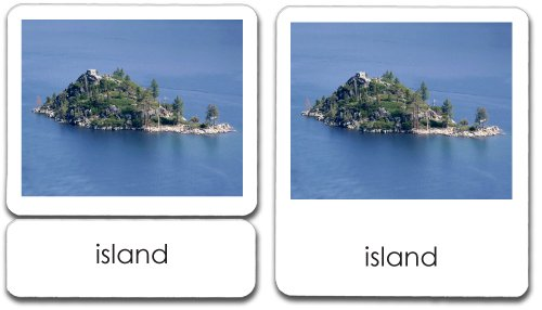 Basic Land & Water Forms 3-Part Cards (Geography) - Land And Water Forms