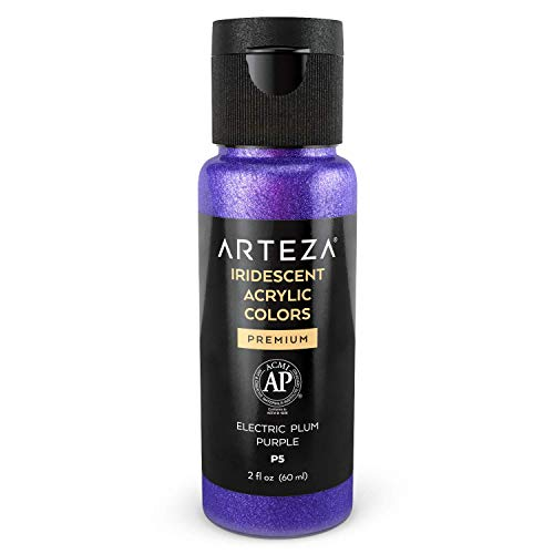 Arteza Iridescent Acrylic Paint P5 Electric Plum Purple, 60 ml Bottle, Chameleon Colors, High Viscosity Shimmer Paint, Water-Based, Blendable, for Canvas, Wood, Rocks, Fabrics