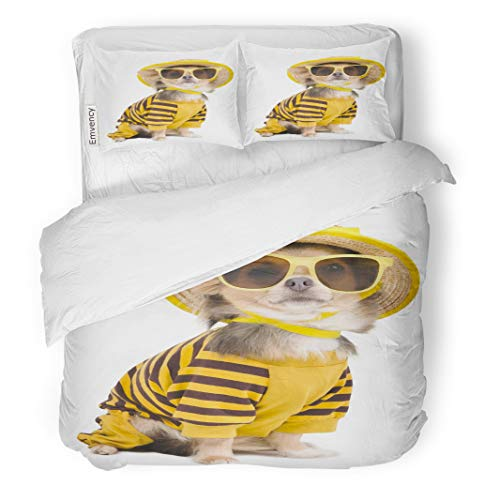 Semtomn Decor Duvet Cover Set Twin Size Yellow Dog Chihuahua Dressed Straw Hat and Sun Glasses 3 Piece Brushed Microfiber Fabric Print Bedding Set Cover]()
