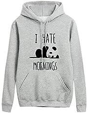 Leewa Panda Hooded Sweatshirts, Woman Print I Hate Mornings Hoodie Soft Pullover Tumblr Woman Girl Long Sleeve Autumn T-Shirts Winter Winter Cotton Sweatshirt