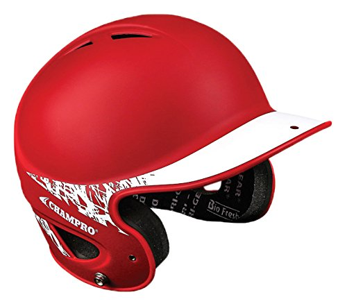 CHAMPRO H4 2-Tone Matte Finish Helmet, Scarlet, 7''-7 1/2 by CHAMPRO