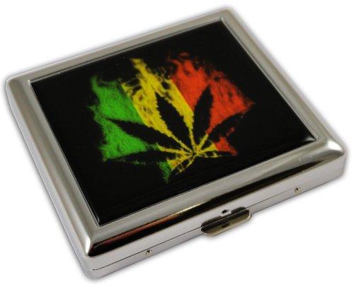 Cigarette Case Metal King Size Double Sided Pot Plant Marijuana Leaf Design