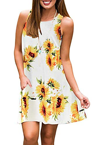 Silvous Summer Dresses for Women Sleeveless Tank Dress Pocket Dress (Sunflower White L)