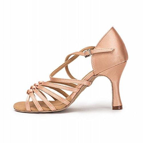 BYLE Sandalias de Cuero Tobillo Modern Jazz Samba Zapatos de Baile Zapatos de Baile Latino Adulto con Zapatos de Baile Fondo Blando Onecolor