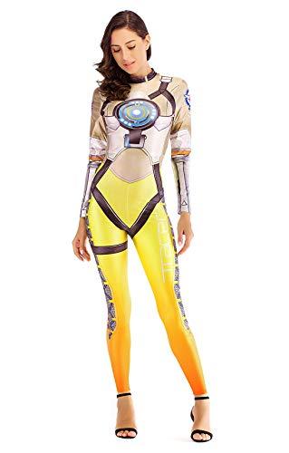 (URVIP Women Halloween Skeleton Costumes Cosplay Stretch Skinny Jumpsuit Bodysuit B108-002)