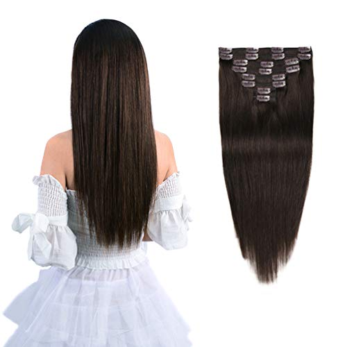 """18"""" Remy Clip in Hair Extensions Human Hair Brown for Women Fashion - Long Silky Straight 8pcs 20clips Real Hair Extensions Clip in Human Hair (18 inch 100g #2 Dark Brown)"""