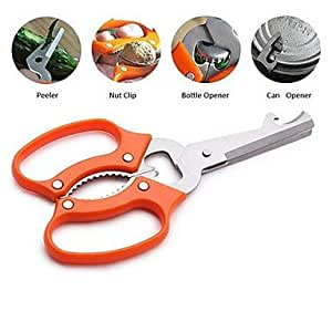 JIAO- Multi-functional Kitchen Scissors for Peeler Can Opener Bottle Opener and Nut Clip, 7'', Stainless Steel , Orange