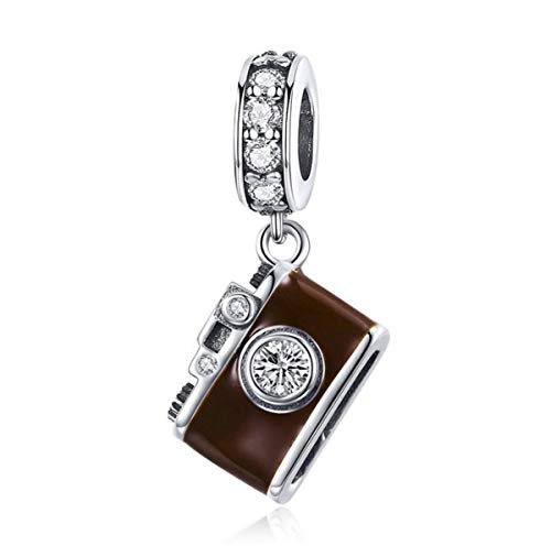 Sterling Silver Camera Charm - Authentic 925 Sterling Silver Camera Memory Charm Beads I Love to Travel Charms for Bracelet & Necklace (A)