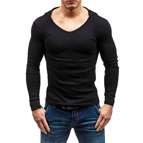 Men's Spring T-Shirt Fashion Casual Blouse Long Sleeve Hoodie Pure Color Top