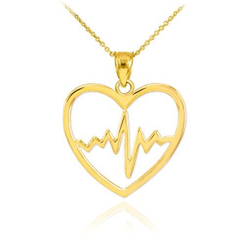 Fine 14k Yellow Gold Lifeline Pulse Heartbeat Charm Open Heart Pendant Necklace, 18