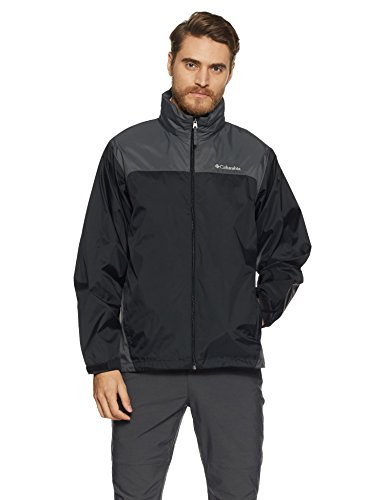 Columbia Men's Glennaker Lake Packable Rain Jacket, Black/Grill, Large