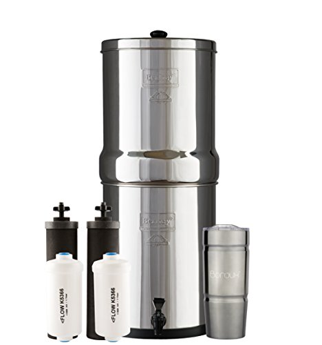 Berkey Gravity Water (ROYAL Berkey Water Filter System with 2 Black Purifier Filters (3 Gallons) Bundled with 1 set of Fluoride (PF2) Filters and 1 Boroux Double Walled 20 oz Stainless Steel Tumbler Cup)