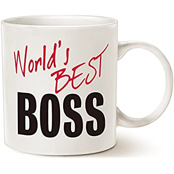MAUAG Christmas Gifts World's Best BOSS Coffee Mug Funny Ceramic Mug for Boss Day White 14 Oz - Work and Office Holiday or Birthday Present For Worlds Best Male or Female Boss, Manager or Coworker